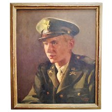 Vintage Portrait Painting Man Gentleman Male U. S. Army Soldier Officer Oil on Canvas WWII WW2 Military Signed E. Lawson 1945