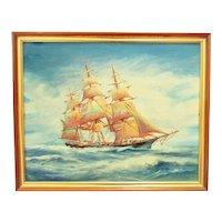 Vintage 3 Mast Sailing Ship Oil Painting Seascape Nautical Maritime Mid Century Modern