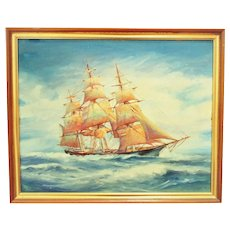 Vintage 3 Mast Sailing Ship Oil Painting Seascape Nautical Maritime Mid Century Modern