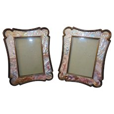 """Pair of Vintage Picture Photo Frames Abalone Mother of Pearl 6"""" x 4"""" Opening"""