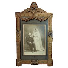 19th c. Victorian Picture Photo Frame Barbola Roses Cherubs Ribbon & Bow Cast Iron Antique