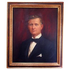 Portrait Painting Man Gentleman Legare Walker Woolworth Bldg. NYC Financier Oil on Canvas Signed Clayton Braun