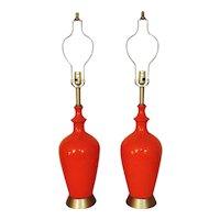 Pair LARGE Table Lamps Orange Mid Century Modern Crackle Glaze MCM Vintage