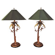 RARE Pair of Frederick Cooper Table Lamps Monkeys & Palm Trees Vintage Modern