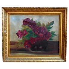 19th c. Still Life Oil Painting Roses Antique Victorian Floral Flowers in Wood & Gesso Frame