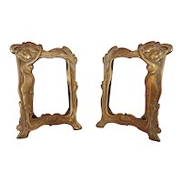"""Pair of Antique Brass Picture Photo Frame Art Nouveau 4 1/2"""" x 3"""" Opening"""