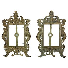 """Pair of Vintage Ornate Picture Photo Frames Gilt Metal 5 1/4"""" x 4"""" Opening"""