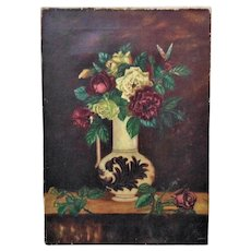19th c. Victorian Roses Still Life Oil Painting Flowers Floral Shabby Cottage Chic Antique