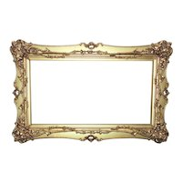 """19th c. French Rococo Style Picture Frame Gilt Wood & Gesso Victorian Antique 14 3/4"""" x 26"""" Rabbet (Opening)"""