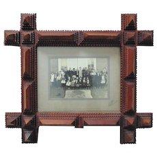 Antique Photo Picture Frame Tramp Art Deep Carved Wood Folk Art Primitive