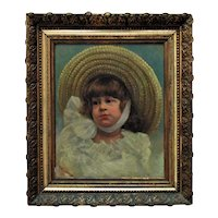 19th c. Portrait Painting Girl Child Antique Victorian Oil on Canvas American School Signed