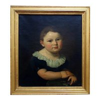 19th c. Portrait Painting Young Boy Theodor Dreier Sr. Antique Victorian Oil on Canvas