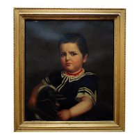 19th c. Portrait Painting Young Boy Henry Edward Dreier Antique Victorian Oil on Canvas American School
