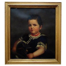 19th c. Portrait Painting Young Boy Henry Edward Dreier Antique Victorian Oil on Canvas American School