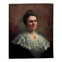 19th c. Portrait Painting Lady Woman Dorothea Dreier Antique Victorian Oil on Canvas