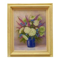 Vintage Still Life Oil Painting Flowers Floral Signed
