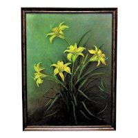 Vintage Still Life Oil Painting Yellow Lilies Flowers Floral Signed
