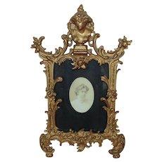 "19th c. Photo Picture Frame Wrought-Iron Antique Victorian Art Nouveau 5 3/4"" x 4 1/4"" Opening Gilt Metal"
