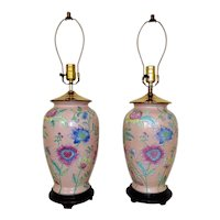 Pair Pink Ginger Jar Table Lamps Chinese Style Asian Oriental Chinoiserie Floral Flowers