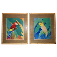Colorful Pair of Watercolor Portrait Paintings Macaws Parrots Birds