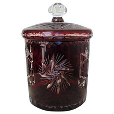 Exceptional Bohemian Ruby Glass Biscuit Cookie Candy Jar Cut to Clear