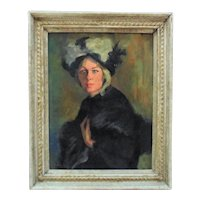 Vintage Portrait Oil Painting of a Mysterious Woman Lady Signed Butterfield Mid Century Modern