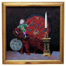 Vintage Chinese Still Life Oil Painting Doll Elephant Charger Asian Oriental Signed Francis Thompson '37