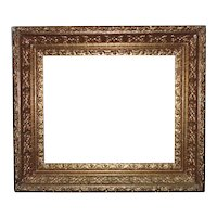 """19th c. Ornate Baroque Style Gilt Wood & Gesso Antique Picture Frame 14 1/4"""" x 17 1/4"""" Rabbet Opening"""