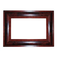 """19th c. Picture Frame Mahogany Ogee Empire Style Antique 20 1/4"""" x 12 1/4"""" Rabbet Opening"""