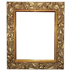 "Antique  Arts & Crafts Picture Photo Frame Leaves & Flowers Gilt Wood & Gesso Mission Bungalow 10"" x 8"" Opening Rabbet"
