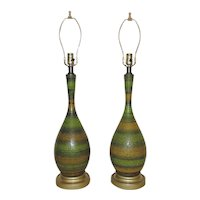 Pair of Green Table Lamps Mid Century Modern