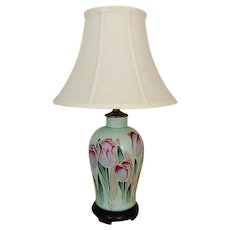 Vintage Table Lamp with Tulips Flowers Floral Mid Century Modern