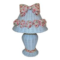 Vintage White Wicker Table Lamp with Pink Bows, Ribbons and Roses