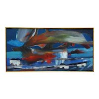 LARGE Abstract Expressionist Acrylic Painting Mid Century Modern American Signed H.R. (Howard Rackliffe) Sofa Size