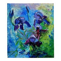 """Still Life Abstract Expressionist Oil Painting """"Iris"""" Irises Signed Elaine Kaufman Feiner Flowers Floral"""