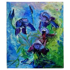 "Still Life Abstract Expressionist Oil Painting ""Iris"" Irises Signed Elaine Kaufman Feiner Flowers Floral"