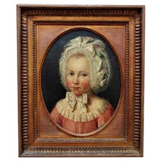 18th c. Portrait Oil Painting of a Little Girl Child Georgian Antique British School