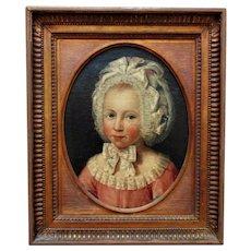 18th c. Portrait Oil Painting of a Little Girl Child Georgian Antique British School