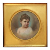 19th c. Portrait Pastel Painting Little Girl Child Antique Victorian Signed A. Lubit