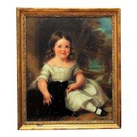19th c. Portrait Painting Little Girl & Dog Antique Victorian Oil on Canvas Folk Art