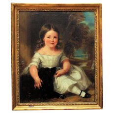 19th c. Portrait Painting Little Girl & Dog Antique Victorian Oil on Canvas