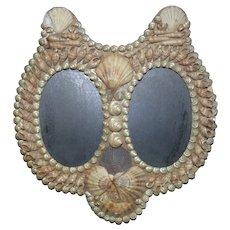 Vintage Double Picture Photo Frame Shell Art Cat Shape
