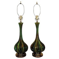 Pair of Vintage Green Table Lamps Drip Glaze Mid Century Modern