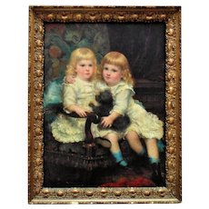 LARGE Antique Portrait Painting of Girls Sisters Twins Children & Dog Oil on Canvas Victorian