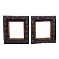 """Pair of Antique Picture Frames Wood & Gesso Arts & Crafts Mission Bungalow Leaves 14 1/8"""" x 12 1/4"""" Opening"""