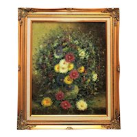 Impressionist Still Life Oil Painting Mid Century Modern Flowers Floral Signed