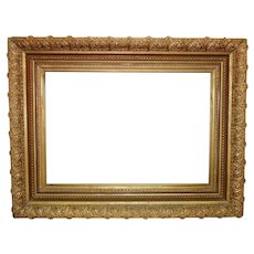 """19th c. Antique Picture Frame Victorian Aesthetic Eastlake Gilt Wood & Gesso 14 1/4"""" x 21 1/4"""" Rabbet Opening"""