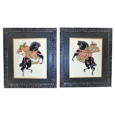 Pair of LARGE Japanese Watercolor Paintings Samurai Warriors Mid Century Modern Picture Frames Signed BiBi Asian Oriental