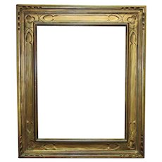 """Art Deco Carved Picture Frame Gilt Wood 15"""" x 11 1/2"""" Rabbet Opening"""