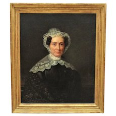 19th c. Portrait Oil Painting Woman Lady Antique Victorian in Gilt Wood & Gesso Picture Frame